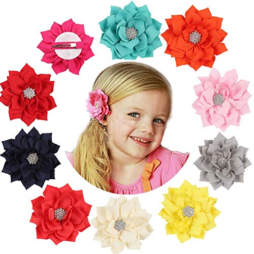 Qandsweet Girl Hair Clips with Jeweled Flower Ms Brooch for Toddlers Teens Girls Womens (13 Pack) ()