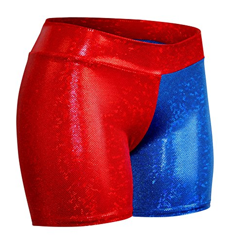 Harley Quinn Margot Robbie Costume (Children's Red and Blue Holographic Spandex Shorts (X-Small, Red Blue))