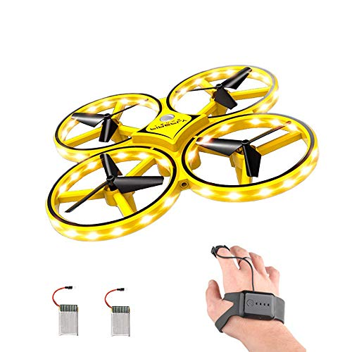 ForBEST Gesture Control Drone Rc Quadcopter Aircraft with Smart Watch Controlled, 2 Batteries, 360° Flips, Led Light, 3 Modes,USB Cable, Best Gift for Kid