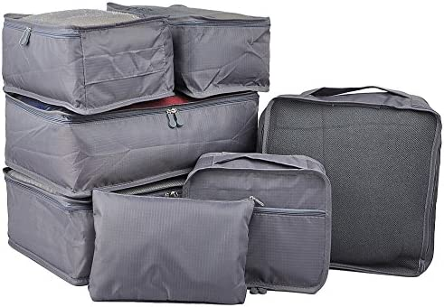Vercord 7 Set Travel Packing Organizers Cubes Luggage Suitcase Organizer Bags Clothes Underwear Cube Shoe Pouch Pack Grey