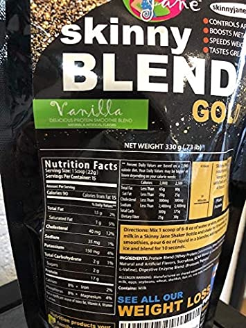 Sale – Skinny Blend Gold Best Tasting Protein Shake for Women, Delicious Smoothie – Weight Loss – Low Carb – Diet Supplement – Weight Control – Appetite Suppressant 15 Servings, Vanilla