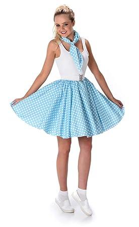 Disfraz años 50 azul claro mujer  Amazon.es  Juguetes y juegos d229efd5ed65