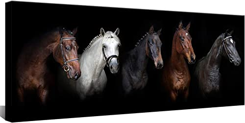 Large Animal Canvas Wall Art Black and White Horse Picture Prints Inspirational Horses Wall Decor Living Room Modern Artwork Home Decoration Framed Ready to Hang 20″x48″
