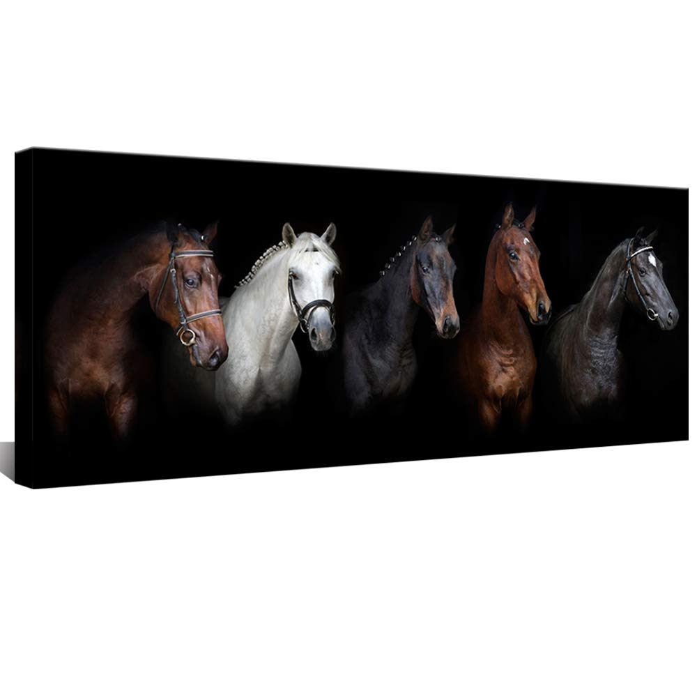 "Large Canvas Wall Art Black and White Horse Animal Painting Prints Vintage Horses Giclee Prints Modern Artwork for Home Decor Framed Ready to Hang 20""x48"""