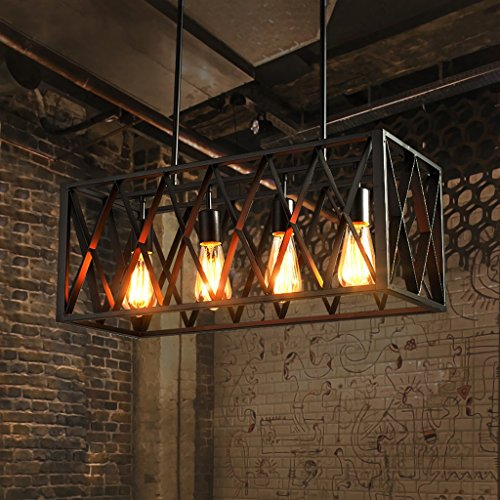 Cheap  Crayom American Iron Restaurant Chandelier(Hollow Cuboid, High Transparency Design),Creative Black Ceiling Pendant..