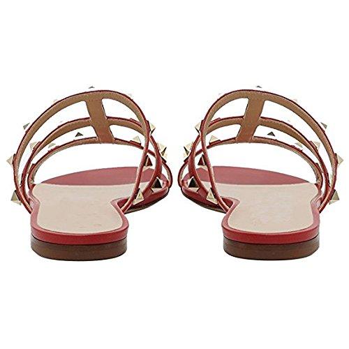 Pan 45EU Borchie Donna Mid Sandals con Rosso Caitlin Dress Sandali Slipper Heels Borchie 35 Heel Block per con Open Toe Chunky Slide dxn4pR