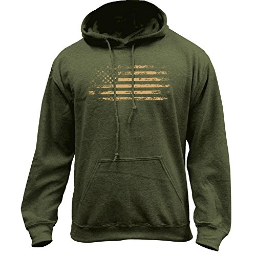 USAMM Distressed American Flag Pullover Hoodie (Small, Military Green)