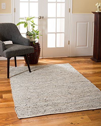 Natural Area Rugs Handmade Reversible Anchor Leather Rectangle Rug (4'X6') Gray - Woven form 90% leather and 10% cotton. Elegant and feels soft on bare feet Perfect addition to any decor Hand loomed by artisan rug makers Imported. - living-room-soft-furnishings, living-room, area-rugs - 51 8fmJWW4L -
