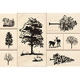 Inka Dinkado Trees Wood Stamp Set