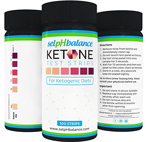 Urinalysis Test Strips, Ketone Strips for Use in Ketogenic, Paleo, and Atkins Diet, 99% Accuracy, Suitable for Diabetics, 100 - Carb Super Complex Pure