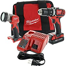 """Milwaukee M18 2606-21L 18V Lithium Ion Cordless Worklight, 1/2"""" Chuck Compact Drill, 18V Lithium Ion Battery, Charger, and Soft Padded Contractor's Bag"""
