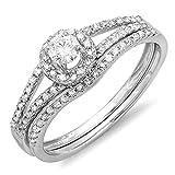0.45 Carat (ctw) 14K Gold Round Diamond Ladies Bridal Halo Style Engagement Ring Set 1/2 CT