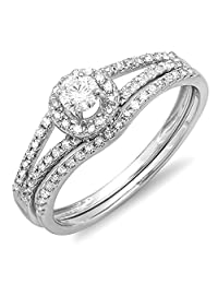 0.45 Carat (ctw) 10k Gold Round Diamond Ladies Bridal Halo Engagement Ring With Wedding Band Set 1/2 CT