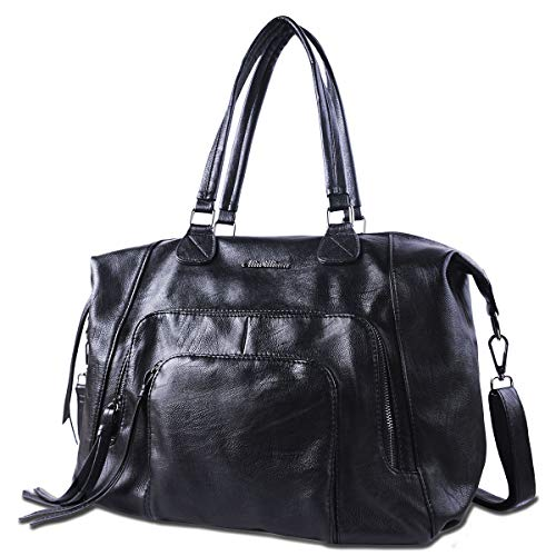 Women Handbags Large Tote Bags - AB Earth Black Faux Leather Hobo Satchel Shoulder Lightweight Purses,H001 - Little Womens Handbag Earth