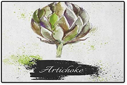 Artichoke,Door Mat Non Slip,Hand Drawn Delicious Fresh Vegetable Healthy Menu Good Eats Super Food,Floor Mat for Tub,Fern Green and Black,Size,32