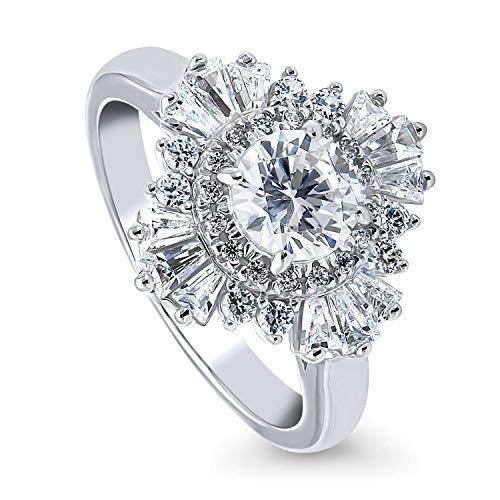 BERRICLE Rhodium Plated Sterling Silver Round Cubic Zirconia CZ Halo Art Deco Cluster Engagement Ring 1.64 CTW Size 6 Art Deco Engagement Ring Settings