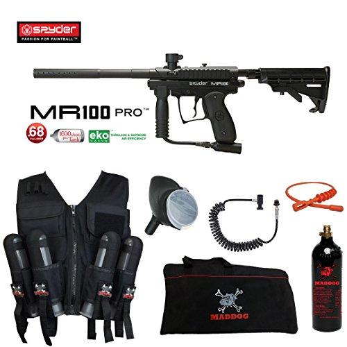 (MAddog Spyder MR100 Pro Lieutenant Sport Vest Paintball Gun Package - Black)