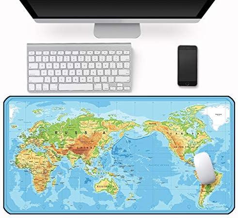 Ommda Wasserdichte Office Mauspad Weltmattenmuster Gummi Multifunktionales Schreibtischunterlage Mouse Pad Anti Rutsch Abwischbar Groß für Büro und Zuhause Style ASY-9,50x100cmx0.4cm