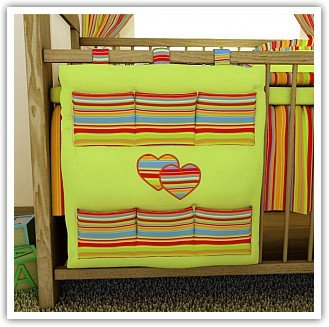 BABY COT TIDY ORGANISER (9 COULORS) (4. Orange strips / pink) Baby's Comfort