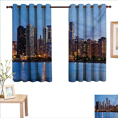 Chicago Skyline Decor Curtains by Sunset in Big City with Dramatic Sky Skyscrapers Evening by Lake 55