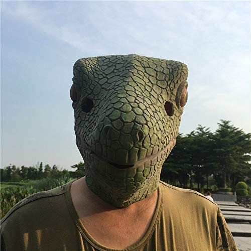 (DeemoShop 1Pcs Realistic Green Lizard Latex Masks Full Face Animal Mask Scary Mask Halloween Party Cosplay Prop Masquerade Fancy)
