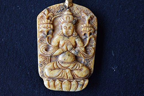Pre-1700 CAMEO BRONZE JADE BUDDHA: Shakyamuni Buddha, Sitting on a Lotus Blossom, Fine Gold Filled Chain (Sale)