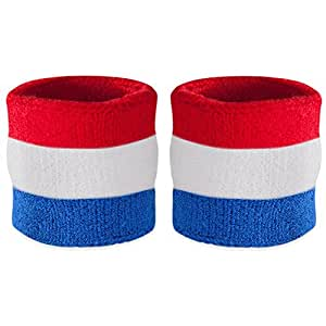 Suddora Striped Wrist Sweatbands - Athletic Cotton Terry Cloth Wristbands for Sports (Pair) (Red White & Blue)