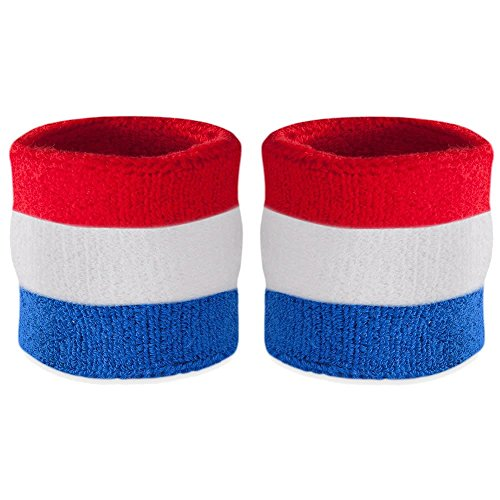 Suddora Striped Wrist Sweatbands - Athletic Cotton Terry Cloth Wristbands for Sports (Pair) (Red White & Blue) -