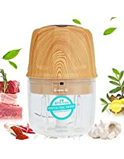 Electric Mini Garlic Chopper, 8.5 Oz Mini Chopper Food Processor, Vegetable Chopper Rechargeable with USB C, Easy Cleaning, BPA Free, Portable Processor for Meat Chili Onion Ginger(Wood Grain)