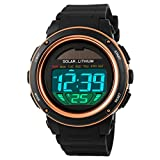 Multi Function Solar Power Watch Girls Boys LED Sport Watches Digital Waterproof chronograph Wrist Watch (gold)