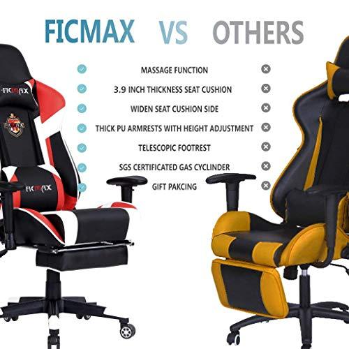 Ficmax Massage Gaming Chair Ergonomic Gamer Chair With