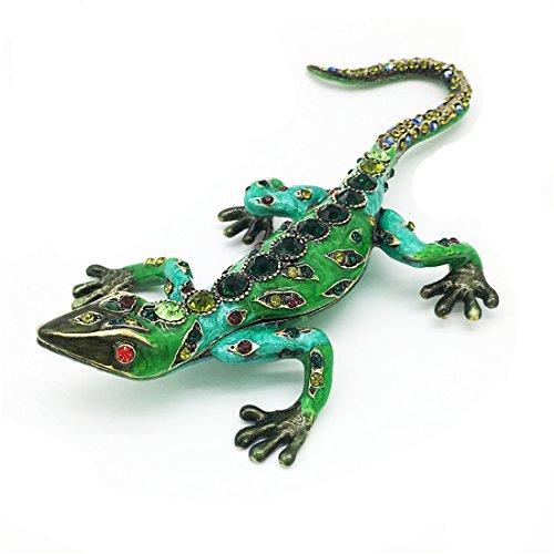 Waltz&F Diamond green lizardHinged Trinket Box Bejeweled Hand-painted Ring Holder Animal Figurine Collectible