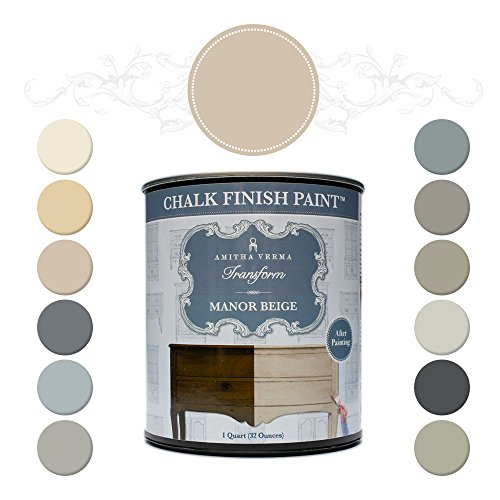 (Amitha Verma Chalk Finish Paint, No Prep, One Coat, Fast Drying | DIY Makeover for Cabinets, Furniture & More, 1 Quart, (Manor Beige))