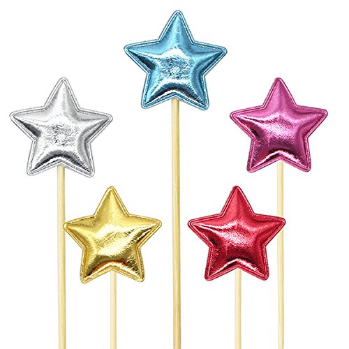 Star Birthday Cake (25Pcs Colorful Cupcake Toppers Muffin Decoration Gold Silver Red Star Cupcake Toppers Fun Cake Topper Picks Mini Birthday Cake Decor Shiny Color Sticks for Baby Boys Girls Kids Birthday Party Supplies)