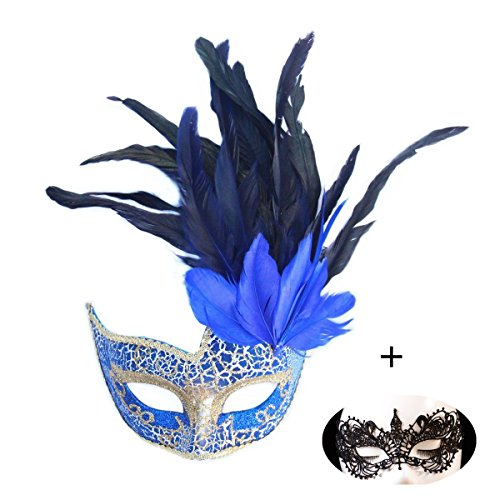 - Haojing Masquerade Carnival Mardi Gras Costume Venetian Halloween Party Mask with Feather Flower and Gift(Princess Blue+Lace)