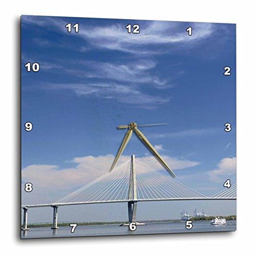 3dRose Arthur Ravenel Jr. bridge, Charleston, South Carolina - Us41 Aje0103 - Adam Jones - Wall Clock, 10 by 10-Inch - Charleston South Carolina Outlets