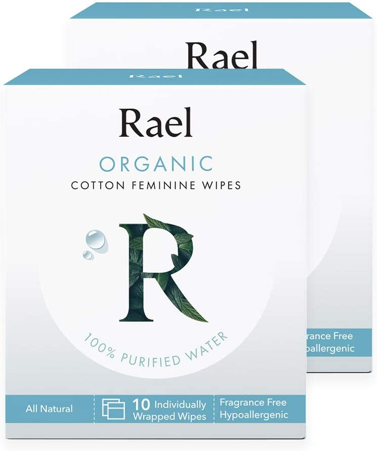 Rael Organic Cotton Feminine Wipes - 100% Purified Water, OCS Certified Organic Cotton, Ideal for Sensitive Skin, Individually Wrapped, (2Pack, 20 Count)