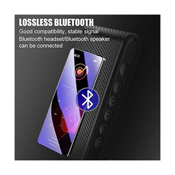 8G Bluetooth Mp3 Player 1.8 Inch Touch Screen Mp4 Capacitive Touch HiFi Lossless Sound Quality Built-in Speaker, Black 6