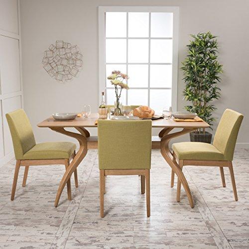 Katherine Green Tea Fabric/ Natural Oak Finish Curved Leg Rectangular 5 Piece Dining Set