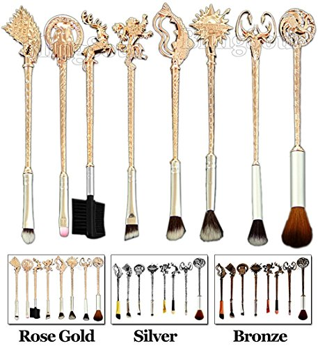 REINDEAR 8 PCs GOT Game of Thrones Houses Metal Makeup Brushes (Rose Gold)]()
