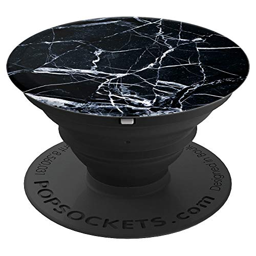 Black Marble Pop Beautiful Mineral Onyx Crystal Stone Gem - PopSockets Grip and Stand for Phones and Tablets