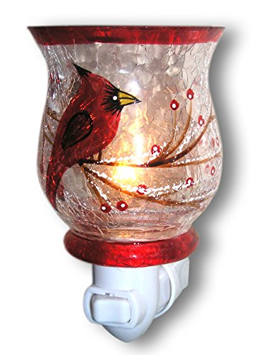 (Red Cardinal Bird Night Light - Hand Painted Glass Shade - Songbirds)