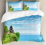 Balinese Decor Duvet Cover Set by Ambesonne, Uluwatu Temple Bali Indonesia Seacoast Cliff Horizon Summer Seascape Nature Picture, 3 Piece Bedding Set with Pillow Shams, Queen / Full, Blue Green
