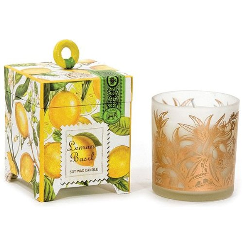 Michel Design Works Gift Boxed Soy Wax Candle, 6.5-Ounce, Lemon Basil