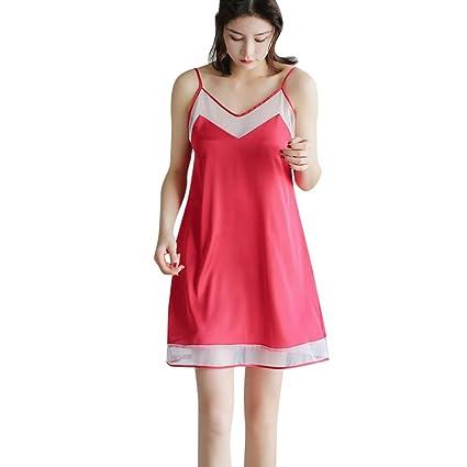e935d3594 Amazon.com  Women Ladies Nightwear Nightdress Sexy Lingerie Satin Mesh  Sleepwear Solid V-Neck Sleeveless Dress (Red)  Office Products