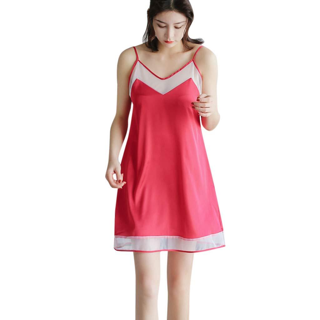 Women Nightwear Sling Sleeveless Nightdress Sexy Lingerie Satin Mesh Sleepwear Dress (L, Red)
