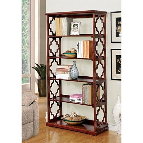 Furniture of America Vera Contemporary 5 Shelf Bookcase in Dark Walnut ()