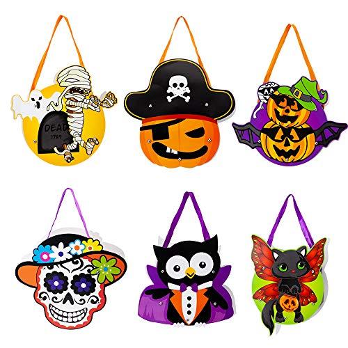 6 Pack Halloween Trick or Treat Gift Bags Portable DIY Paper Bags Cartoon Pumpkins Ghosts Skull Goody Tote Bags Halloween Party Favors