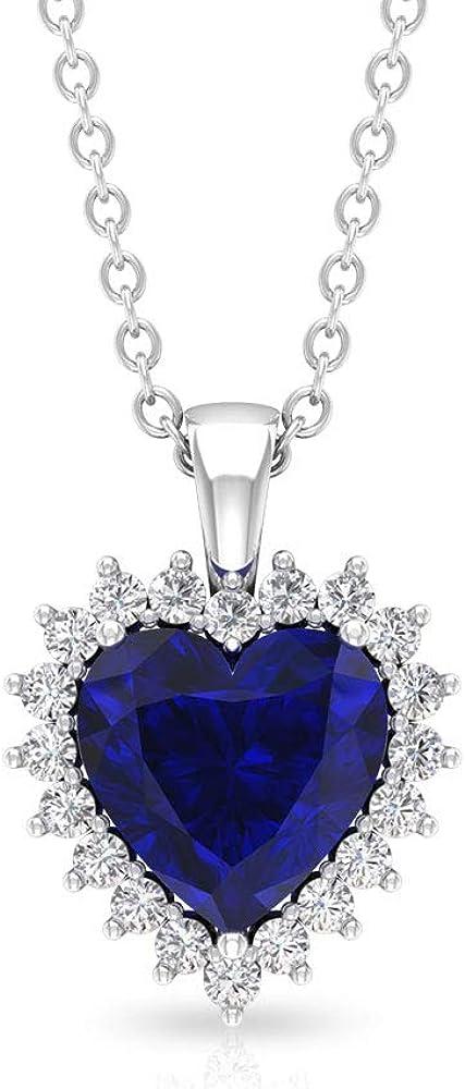 1,5 ct zafiro difusa declaración colgante, certificado SGL diamante halo gota collar, forma de corazón colgante solitario de piedra preciosa, collar de boda