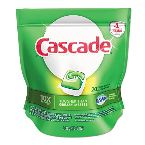 Dishwasher Cascade Automatic (Cascade 41759 13.4-Ounce 2 in 1 ActionPacs Automatic Dishwasher Detergent Bag (5 Bags per Case))